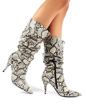 Nicole Snakeskin Slouch Knee High Boots