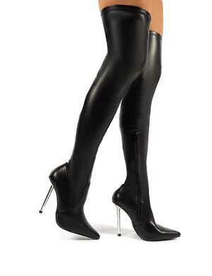 Gia Black PU Stiletto Heeled Over the Knee Boots