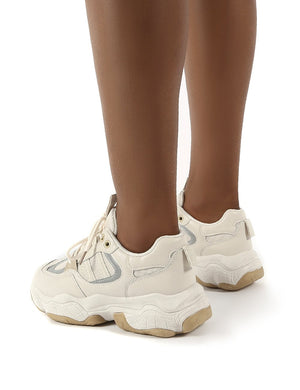 Motion Beige Pu Chunky Sole Trainers