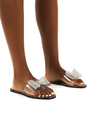 Bobbie Black Perspex Diamante Detail Bow Flat Sandals