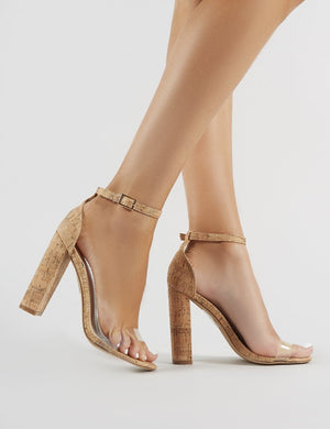 Ana Perspex Strap Barely There Heels in Cork