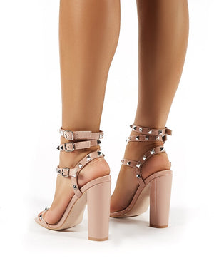 Finally Wide Fit Nude Patent Studded Block Heels