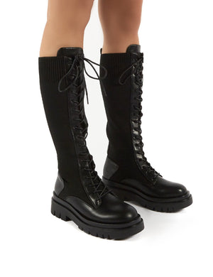 Embark Black Chunky Sole Knee High Lace Up Boots