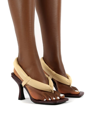 Alina Chocolate PU Square Toe Padded Toe Thong Heels