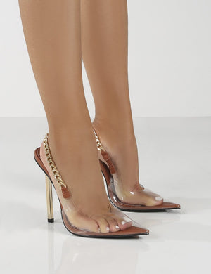Blair Tan Chain Detail Sling Back Stiletto Heels