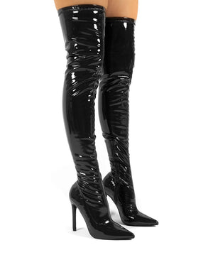 Confidence Wide Fit Black Patent Heeled Over The Knee PU Boot