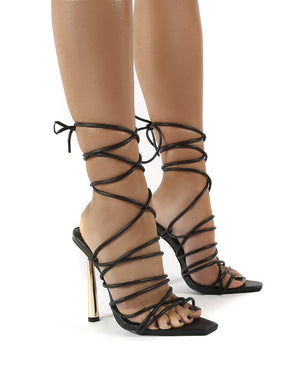 Illusion Black Pu Lace Up Strappy Stiletto Heels