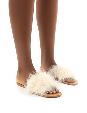 Bubbly Nude Feather Slider Flat Sandals