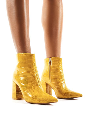 Hollie Pointed Toe Ankle Boots in Mustard Croc