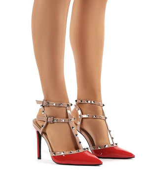 Kloss Wide Fit Red Patent Studded Stiletto Court Heels