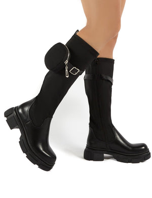 Generate Black Chunky Sole Knee High Pouch Boots