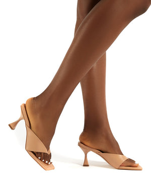 Harlie Nude Toe Post Square Toe Heeled Mules