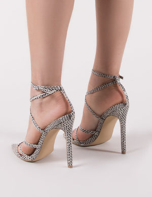 Safari Pointed Strappy Heels in Snake