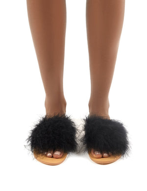 Bubbly Black Feather Slider Flat Sandals