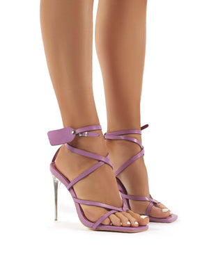 Kisses Lilac Patent Perspex Stiletto High Heels