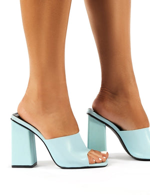 Pixel Blue Reflective Block Heeled Mules