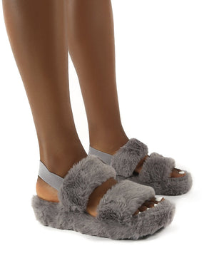 Dawn Grey Strap Back Faux Fur Fluffy Slippers