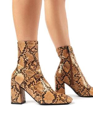 Addict Tan Snakeskin Sock Fit Block Heeled Ankle Boots
