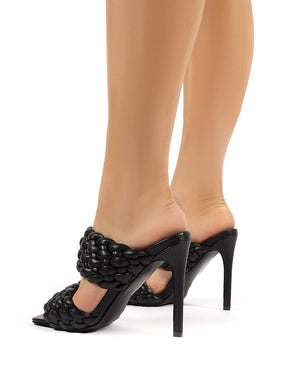 India Black PU Stiletto Heeled Mules