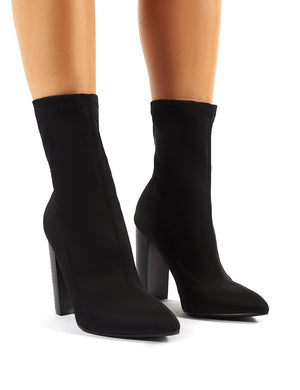 Billie Black Stretch Flared Heel Sock Fit Ankle Boots