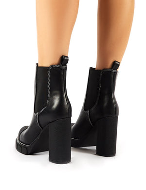 Antix Black Contrast Stitch Platform Block Heeled Ankle Boots