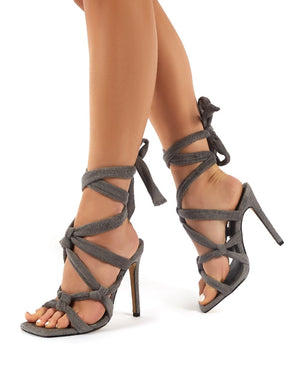 Convo Grey Towelling Knotted Lace Up Stiletto High Heels