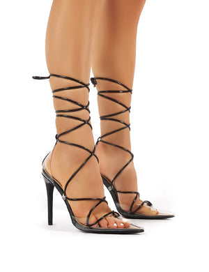 Carmen Black and Perspex Lace Up Stiletto High Heels