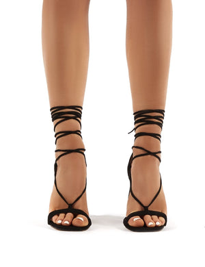 Frankie Wide Fit Black Suede Lace Up Block High Heels