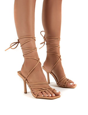 Haute Nude Square Toe Strappy Lace Up Heels