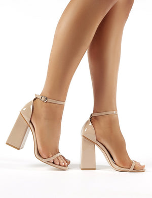 Anna Nude Patent Square Block Heel Barely Theres