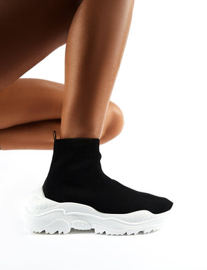 Callie Black Knitted Sock Trainers