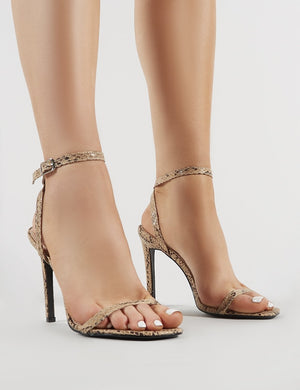 Notion Squared Toe Barely There Heels in Snake Print