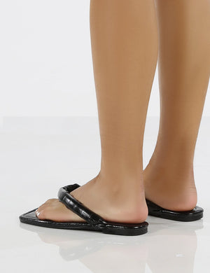 Admit Black PU Padded Toe Thong Strap Flat Sandals