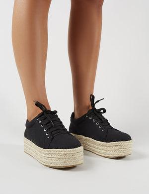 Paloma Espadrille Flatform Trainers in Black Canvas
