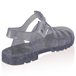 Aileen Clear Glitter Jelly Sandals