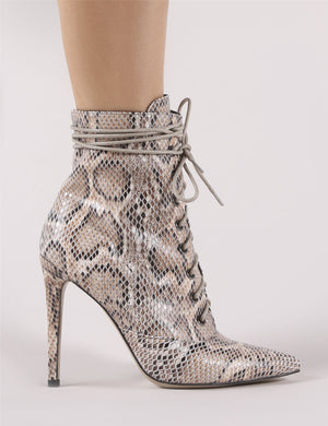 Spectrum Lace Up Ankle Boots in Snake Print