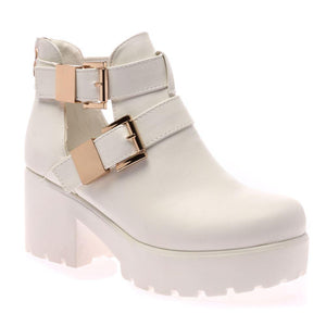 Pip White PU Cut Out Double Buckle Boots