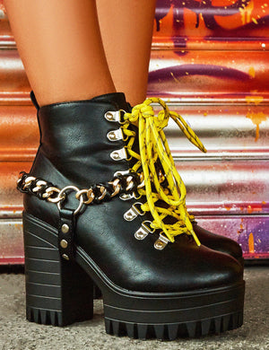 Bribe Black Lace Up Cleated Platform