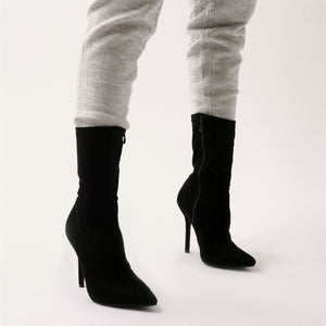 Direct Pointy Sock Boots in Black Faux Suede