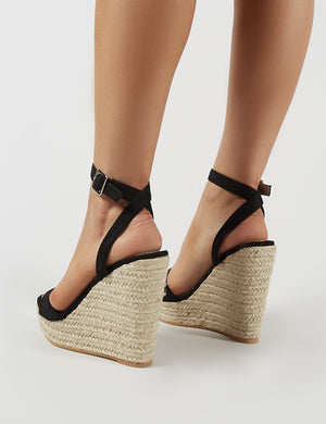 Sydney Espadrille Wedges in Black Faux Suede