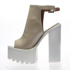 Kelis Nude Cleated Sole Platform Heel Shoes