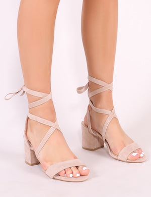 Sophie Heeled Sandals in Nude Faux Suede