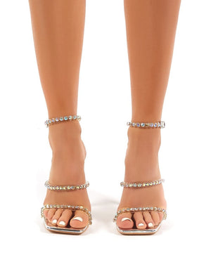 Heartbreak Strappy Diamante Silver High Heels