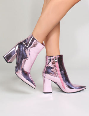 Empire Pointed Toe Ankle Boots in Pink Metallic