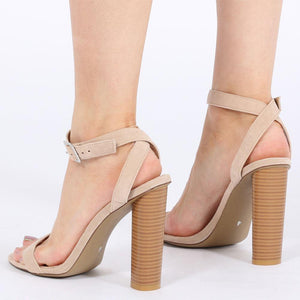 Carmela Barely There Wood Effect Heels in Nude Faux Suede