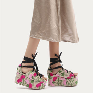 Storm Embroidered Lace Up Flatforms in Pink