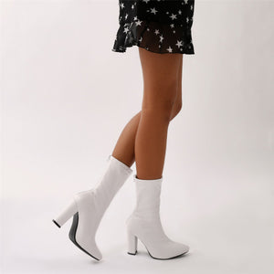 Macaron Sock Fit Ankle Boots in White