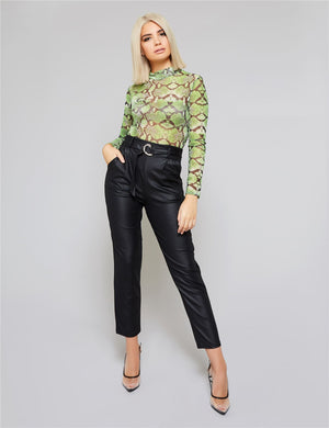 Black PU Paperbag Waist Belted Trousers