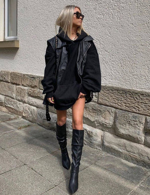 Mine Black PU Knee High Boots