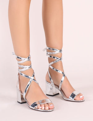 Sophie Heeled Sandals in Silver